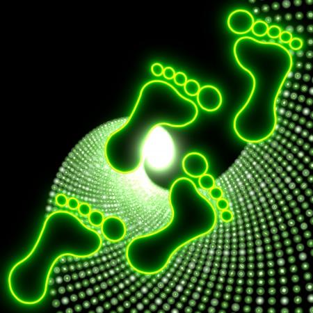 walk through: Neon green  electronic footprint icon walk through the night life