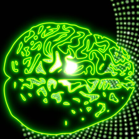 next stage: Neon green  electronic brain disco lights symbol Stock Photo