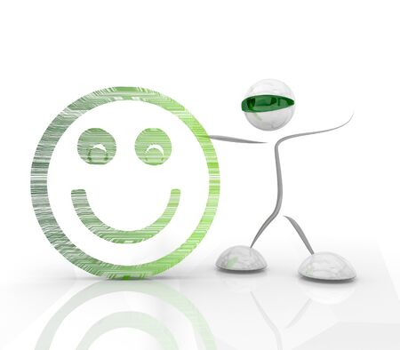 happyness: modern smily smile 3d symbol with robot character