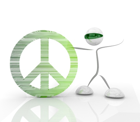 green hologram with modern futuristic peace 3d character Stock Photo