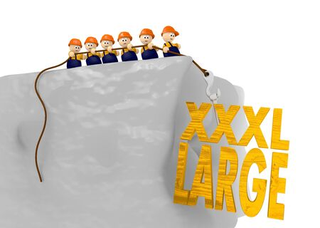 xxxl: cute tiny 3d characters pull up a xxxl large sign