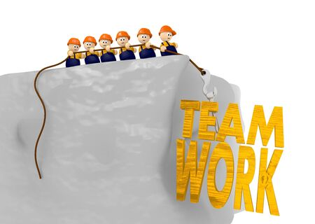 Teamwork 3d illustration with cute tiny 3d characters pulling together Stock Illustration - 17936345