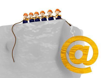 pull up: un team di cute 3d carattere tirare su un contatto e-mail segno di legno Archivio Fotografico