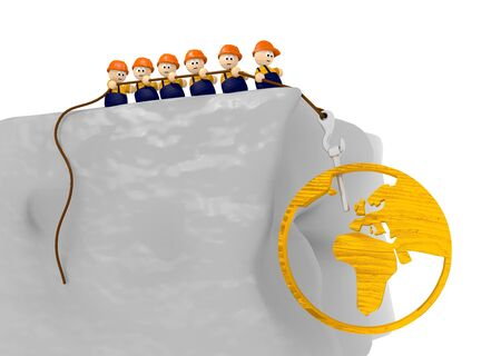 builder world development comic 3d illustration with 3d character pulling on a rope illustration
