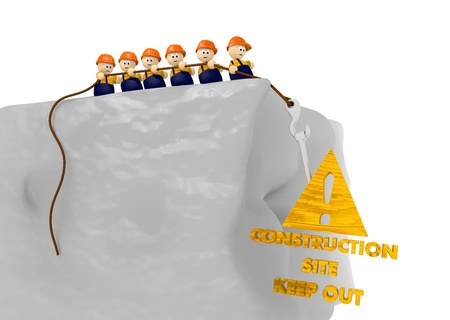 keep out: keep out from construction site sign with nice tiny 3d characters