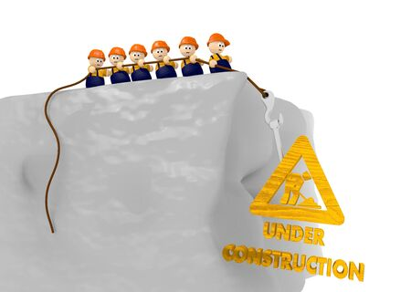 under construction icon in comic styl with tiny builders Stock Photo - 17936319