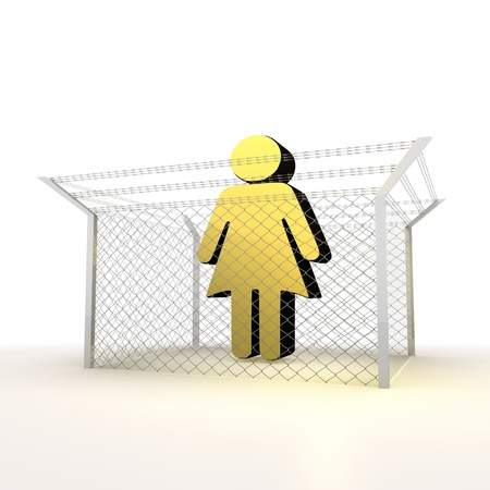 blockade: Mikado yellow  arrest 3d graphic with caged woman sign