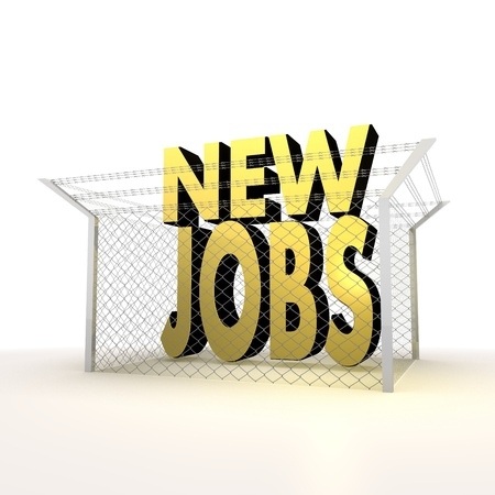 razorwire: Mikado yellow  arrest 3d graphic with metallic new jobs sign