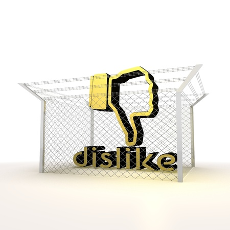 razorwire: Mikado yellow  arrest 3d graphic with caged dislike symbol