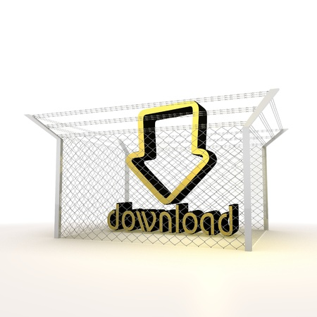 arrest: Mikado yellow  arrest 3d graphic with barbed download sign Stock Photo