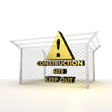 razorwire: Mikado yellow  arrest 3d graphic with metallic construction site symbol