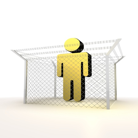 razorwire: Mikado yellow  arrest 3d graphic with isolated man sign