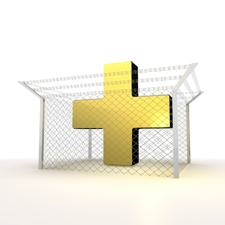 razorwire: Mikado yellow  arrest 3d graphic with metallic cross symbol Stock Photo