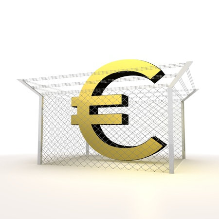 razorwire: Mikado yellow  arrest 3d graphic with caged Euro symbol