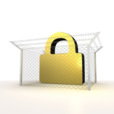 razorwire: Mikado yellow  arrest 3d graphic with forbidden secure sign