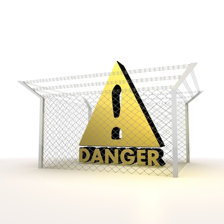 razorwire: Mikado yellow  arrest 3d graphic with forbidden Danger symbol Stock Photo