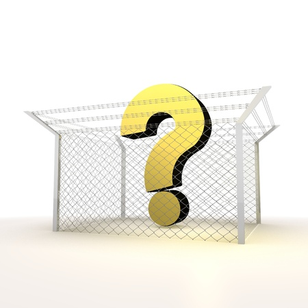 razorwire: Mikado yellow  arrest 3d graphic with isolated question symbol