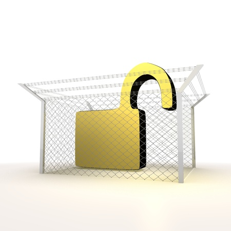 razorwire: Mikado yellow  arrest 3d graphic with locked unsafe symbol