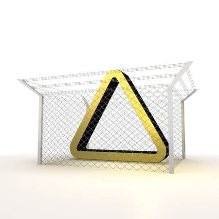 razorwire: Mikado yellow  arrest 3d graphic with caged triangle icon Stock Photo