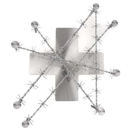 razor wire: 3d graphic with razor wire  arrest  with caged cross symbol