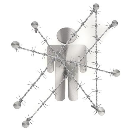 razor wire: 3d graphic with razor wire  arrest  with forbidden man symbol