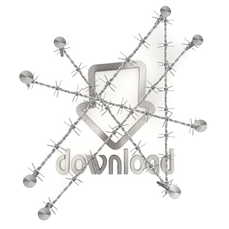 razorwire: 3d graphic with razor wire  arrest  with metallic download icon