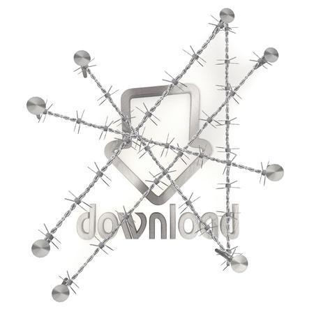razor wire: 3d graphic with razor wire  arrest  with metallic download icon