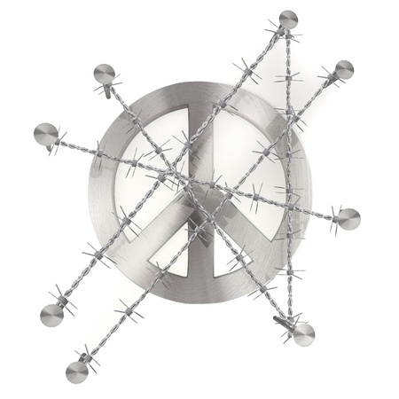3d graphic with razor wire  arrest  with barbed peace sign Stock Photo - 18289678