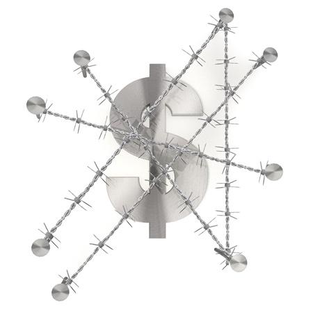 razor wire: 3d graphic with razor wire arrest  with forbidden Dollar symbol