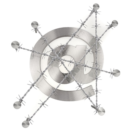 razor wire:  3d graphic with razor wire  arrest  with isolated e-mail symbol