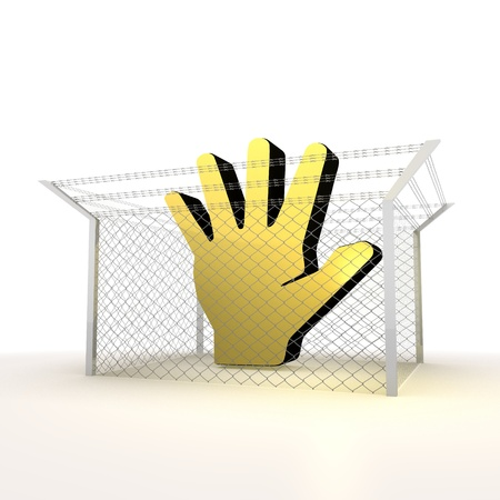 razorwire: Mikado yellow  arrest 3d graphic with forbidden fenced hand sign