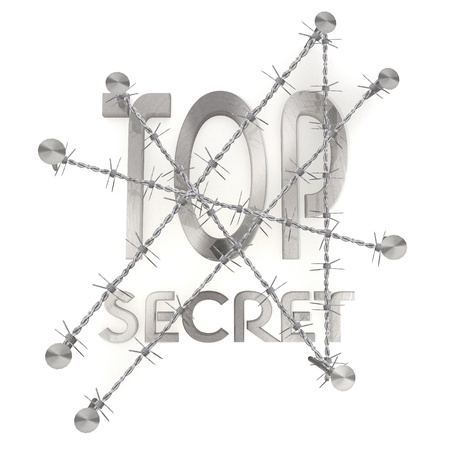 3d graphic with razor wire arrest  with isolated top secret icon photo