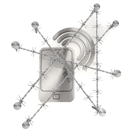 razorwire: 3d graphic razor wire  arrest with metallic smart phone symbol