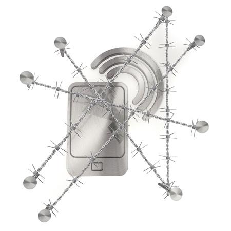 razor wire: 3d graphic razor wire  arrest with metallic smart phone symbol