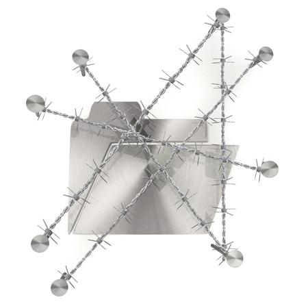 razor wire: 3d graphic razor wire  arrest  with metallic folder icon Stock Photo