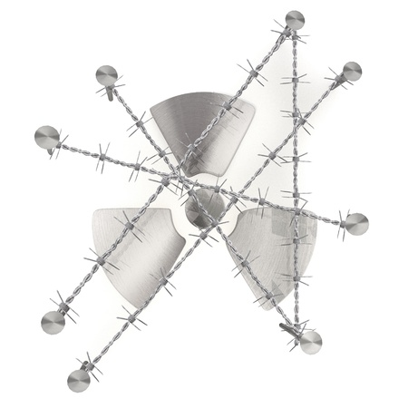 razor wire: barbed razor wire arrest 3d graphic with caged atom symbol