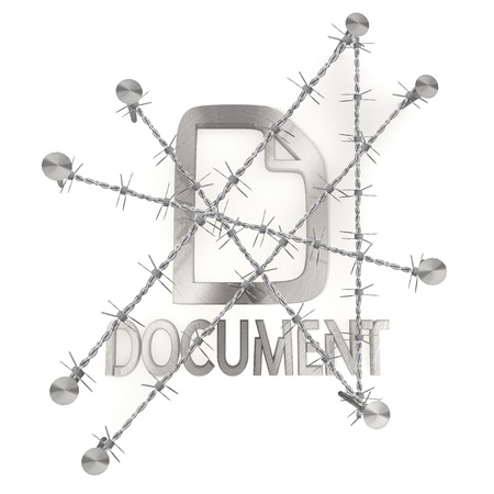 razorwire: 3d graphic with razor wire  arrest with locked document icon Stock Photo