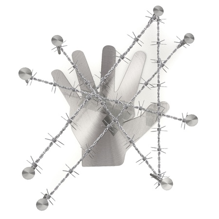 razor wire: 3d graphic with razor wire  arrest  with isolated hand sign Stock Photo
