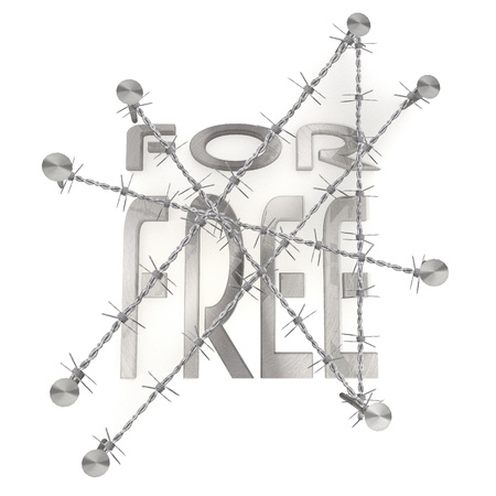 razorwire: 3d graphic  in steel arrest with discount free symbol