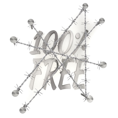 razorwire: 3d graphic   in steel  arrest with 100 percent free free sign