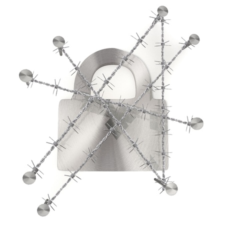 razorwire: 3d graphic Medium taupe  arrest  with locked secure sign