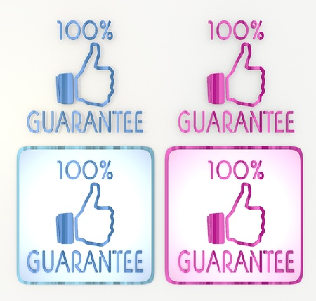 puerile:  3d graphic in pink and blue 4 lables  symbol with blue guarantee icon