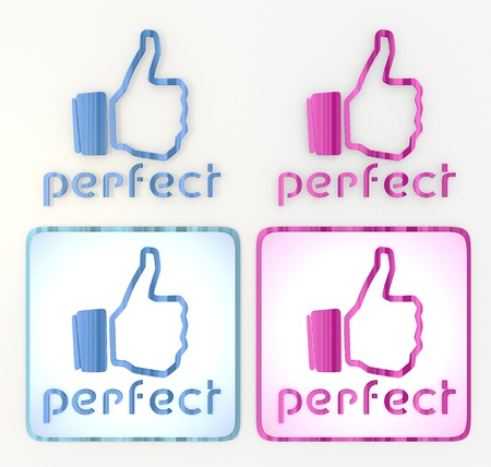 puerile:  3d graphic in pink and blue symbol with fresh perfect icon