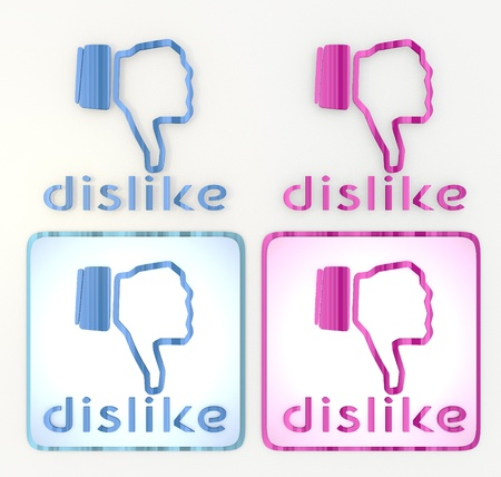 puerile: 3d graphic in pink and blue with 4 lables symbol  with coltish dislike icon
