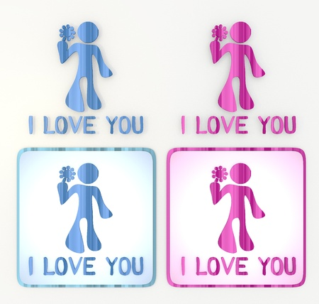 puerile: 3d graphic in pink and blue lables and symbol with cute I love you icon Stock Photo