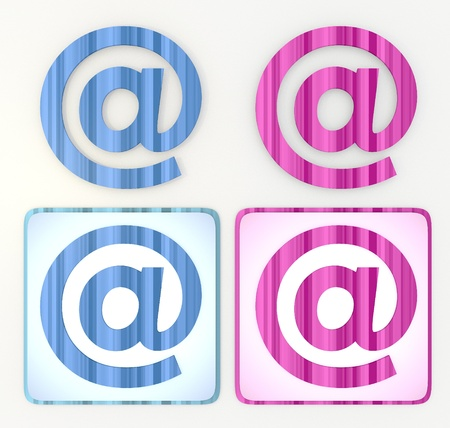 puerile: 3d graphic lables in pink and blue symbol  with  e-mail icon Stock Photo