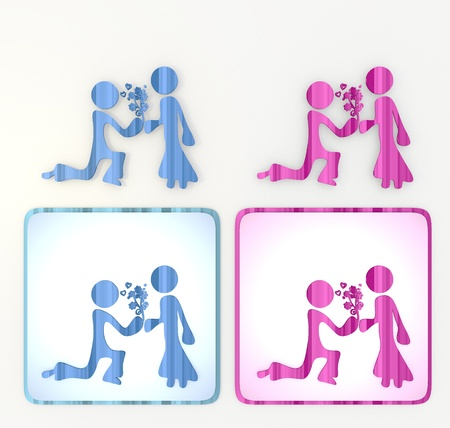 puerile: 3d graphic Old mauve  symbol  with pink proposal of marriage icon
