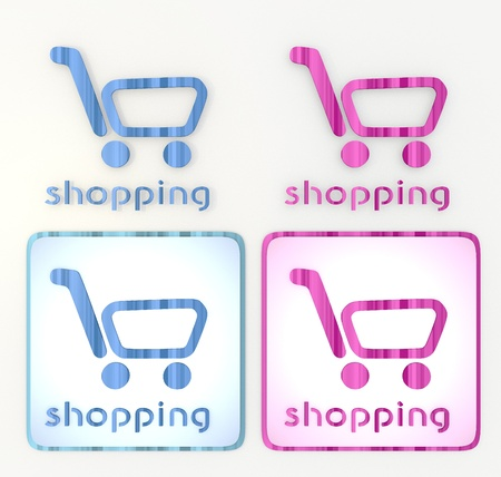 puerile:  3d graphic in pink and blue  symbol with pink shopping icon