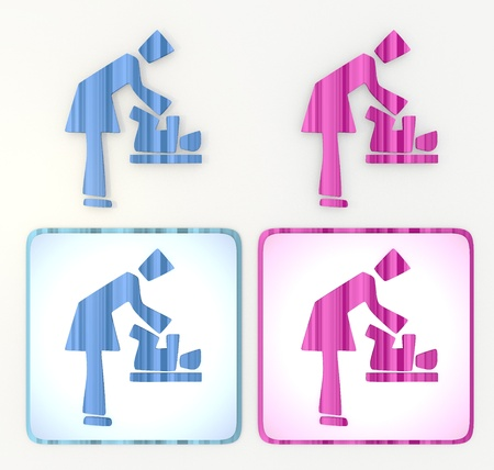 puerile: 3d graphic in pink and blue symbol  with comic style exchanging diaper icon