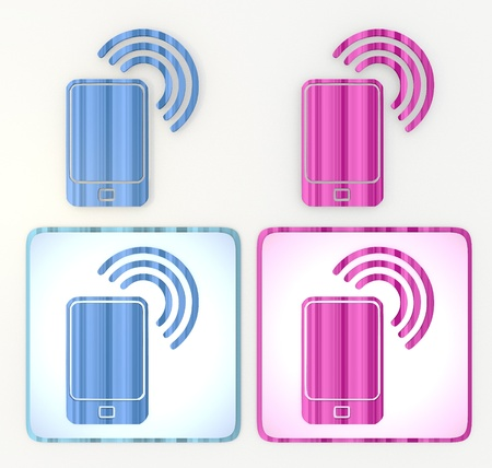 puerile: 3d graphic in pink and blue  symbol with nice smart phone icon